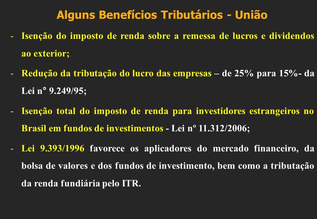 Alguns Benefícios Tributários - União -Isenção do imposto de renda sobre a remessa de lucros e dividendos ao exterior; -Redução da tributação do lucro das empresas – de 25% para 15%- da Lei n° 9.249/95; -Isenção total do imposto de renda para investidores estrangeiros no Brasil em fundos de investimentos - Lei nº 11.312/2006; -Lei 9.393/1996 favorece os aplicadores do mercado financeiro, da bolsa de valores e dos fundos de investimento, bem como a tributação da renda fundiária pelo ITR.