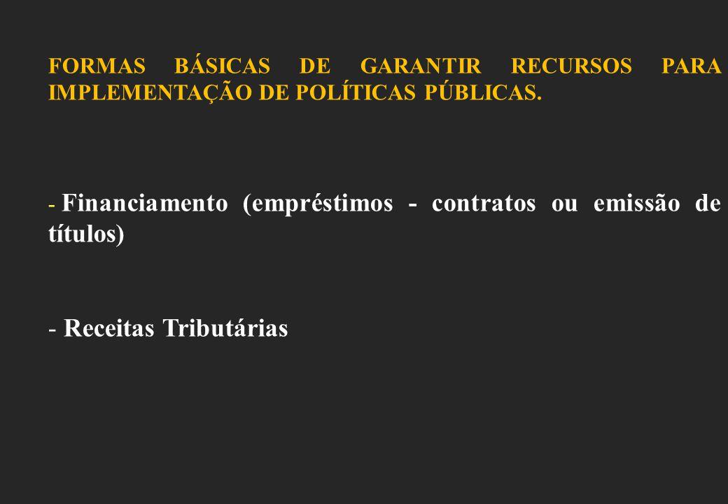 FORMAS BÁSICAS DE GARANTIR RECURSOS PARA IMPLEMENTAÇÃO DE POLÍTICAS PÚBLICAS.