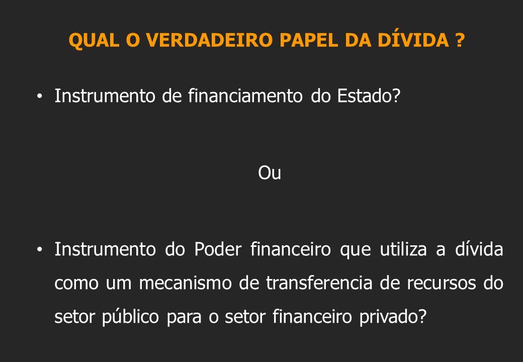 QUAL O VERDADEIRO PAPEL DA DÍVIDA . Instrumento de financiamento do Estado.