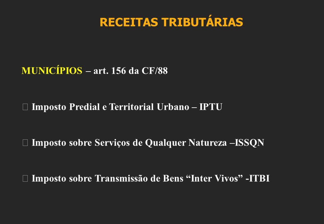 RECEITAS TRIBUTÁRIAS MUNICÍPIOS – art.