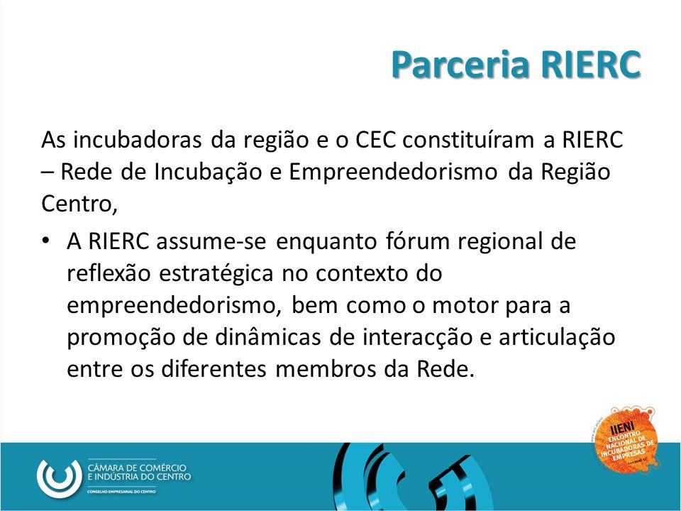 Parceria RIERC As incubadoras da região e o CEC constituíram a RIERC – Rede de Incubação e Empreendedorismo da Região Centro, A RIERC assume-se enquanto fórum regional de reflexão estratégica no contexto do empreendedorismo, bem como o motor para a promoção de dinâmicas de interacção e articulação entre os diferentes membros da Rede.