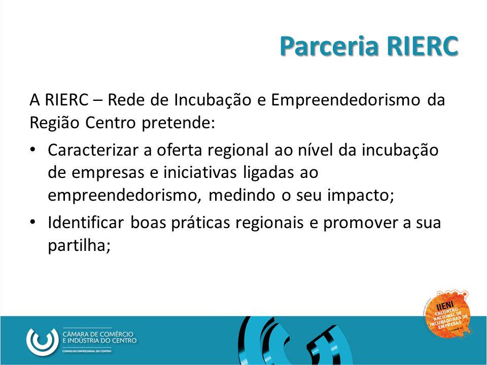Parceria RIERC A RIERC – Rede de Incubação e Empreendedorismo da Região Centro pretende: Caracterizar a oferta regional ao nível da incubação de empresas e iniciativas ligadas ao empreendedorismo, medindo o seu impacto; Identificar boas práticas regionais e promover a sua partilha;