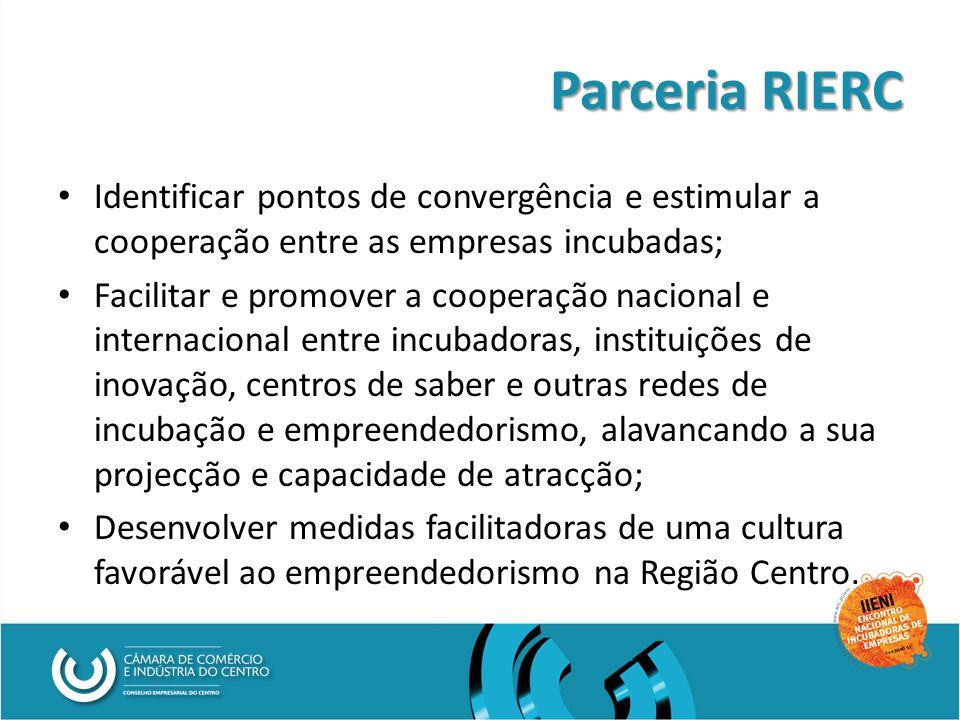 Parceria RIERC Identificar pontos de convergência e estimular a cooperação entre as empresas incubadas; Facilitar e promover a cooperação nacional e internacional entre incubadoras, instituições de inovação, centros de saber e outras redes de incubação e empreendedorismo, alavancando a sua projecção e capacidade de atracção; Desenvolver medidas facilitadoras de uma cultura favorável ao empreendedorismo na Região Centro.