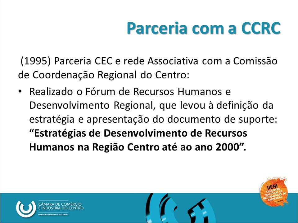 Parceria com a CCRC (1995) Parceria CEC e rede Associativa com a Comissão de Coordenação Regional do Centro: Realizado o Fórum de Recursos Humanos e Desenvolvimento Regional, que levou à definição da estratégia e apresentação do documento de suporte: Estratégias de Desenvolvimento de Recursos Humanos na Região Centro até ao ano 2000 .