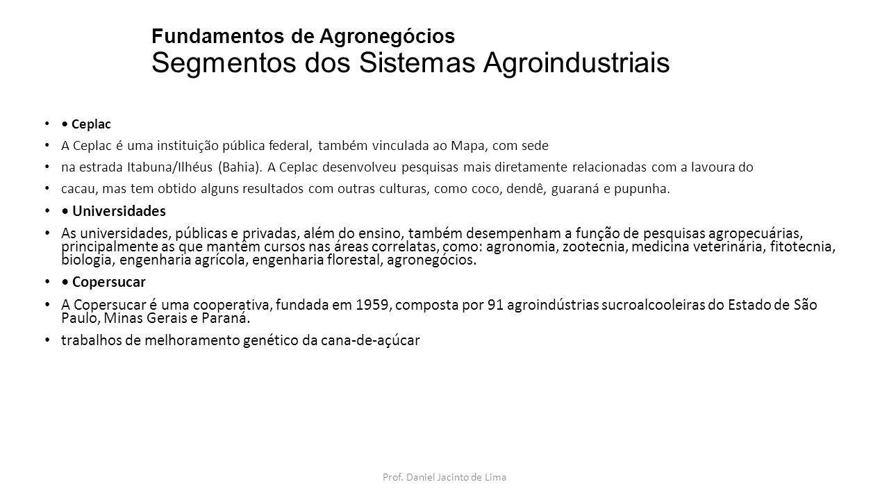 Fundamentos de Agronegócios Segmentos dos Sistemas Agroindustriais Ceplac A Ceplac é uma instituição pública federal, também vinculada ao Mapa, com se