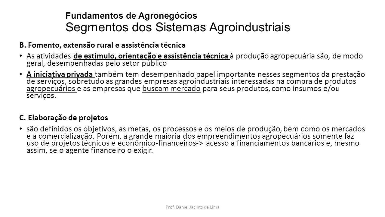 Fundamentos de Agronegócios Segmentos dos Sistemas Agroindustriais B. Fomento, extensão rural e assistência técnica As atividades de estímulo, orienta