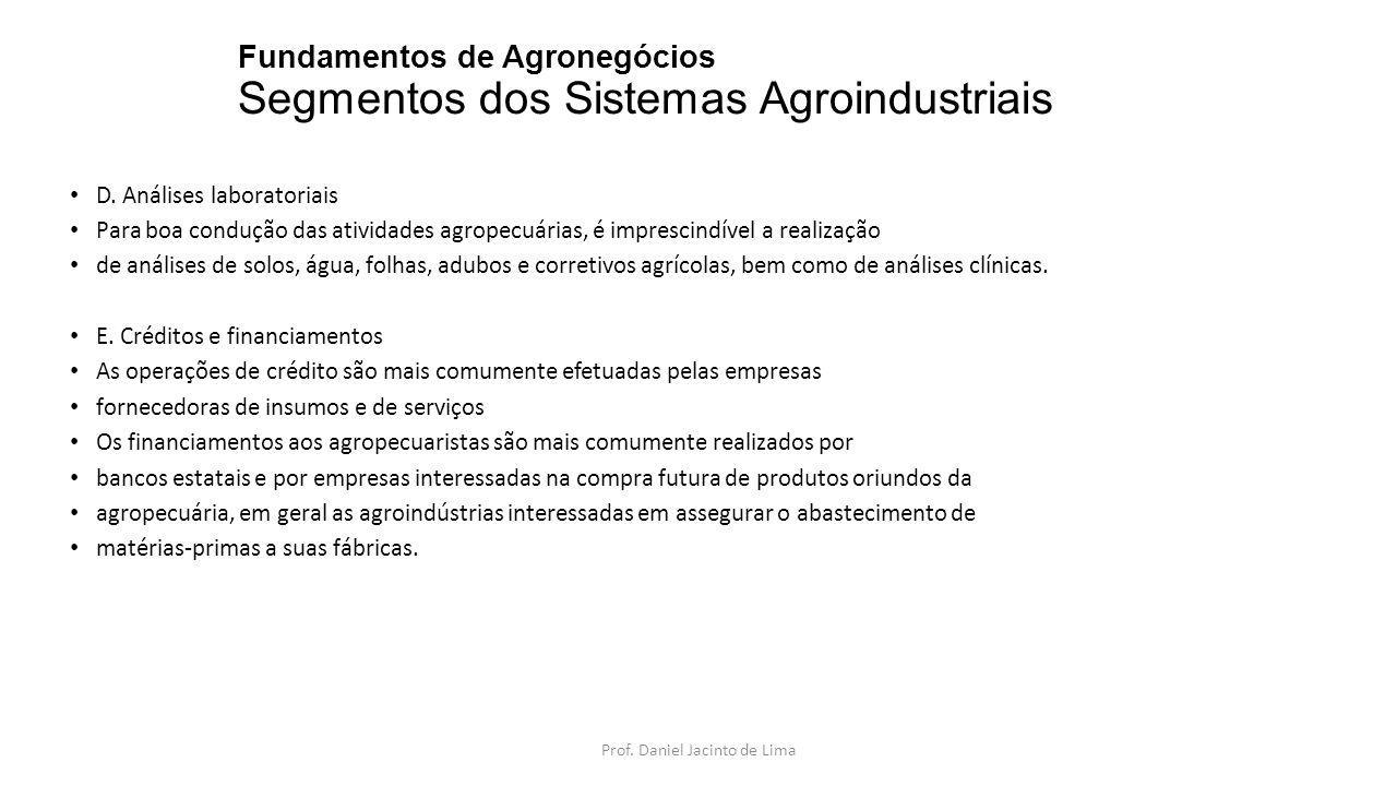 Fundamentos de Agronegócios Segmentos dos Sistemas Agroindustriais D. Análises laboratoriais Para boa condução das atividades agropecuárias, é impresc
