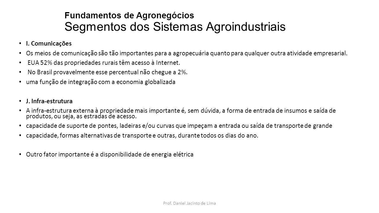 Fundamentos de Agronegócios Segmentos dos Sistemas Agroindustriais I. Comunicações Os meios de comunicação são tão importantes para a agropecuária qua