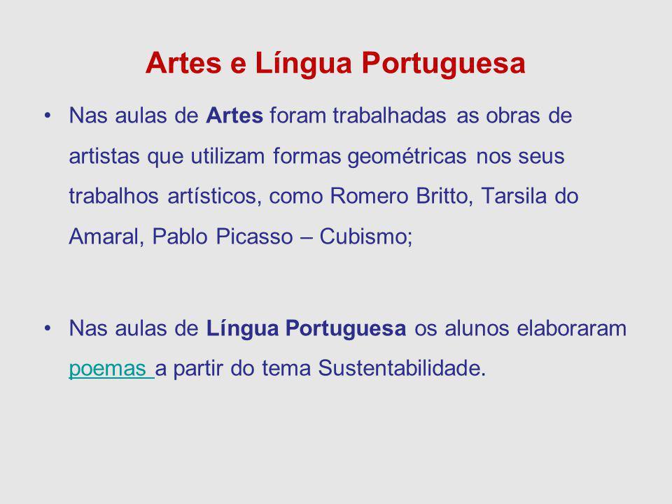 Artes e Língua Portuguesa Nas aulas de Artes foram trabalhadas as obras de artistas que utilizam formas geométricas nos seus trabalhos artísticos, com
