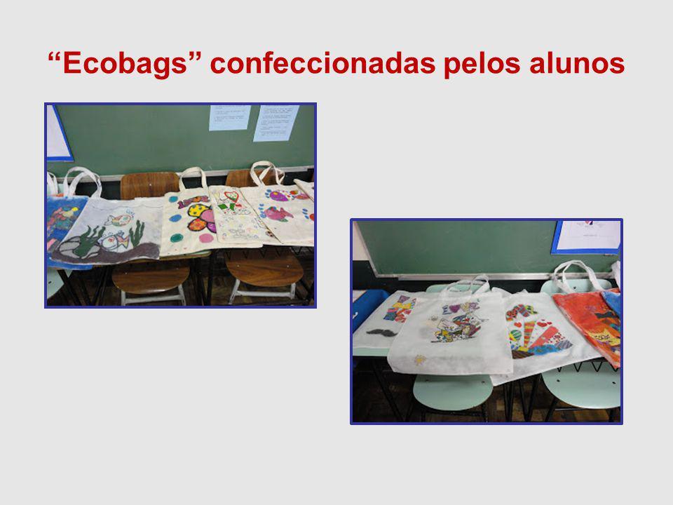 Ecobags confeccionadas pelos alunos