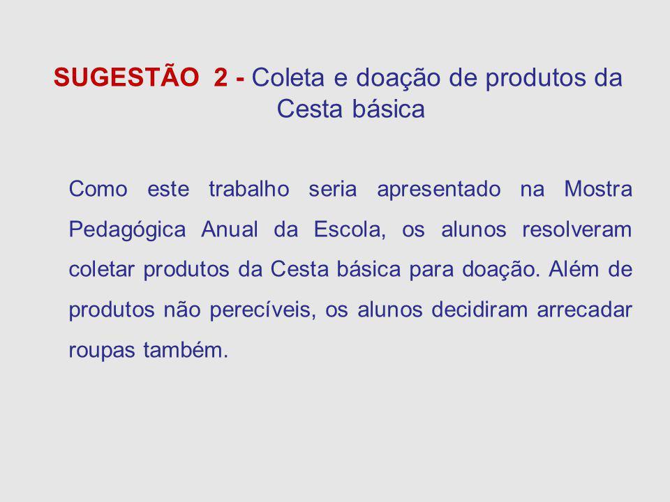 SUGESTÃO 2 - Coleta e doação de produtos da Cesta básica Como este trabalho seria apresentado na Mostra Pedagógica Anual da Escola, os alunos resolveram coletar produtos da Cesta básica para doação.