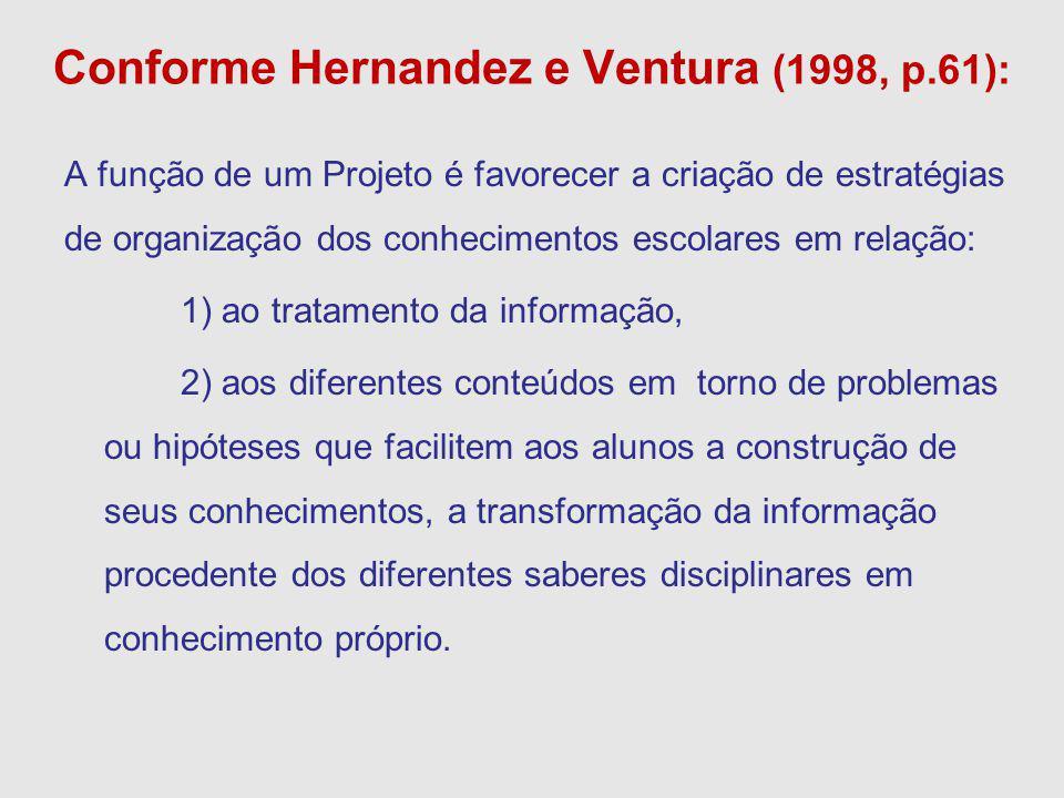 Conforme Hernandez e Ventura (1998, p.61): A função de um Projeto é favorecer a criação de estratégias de organização dos conhecimentos escolares em r
