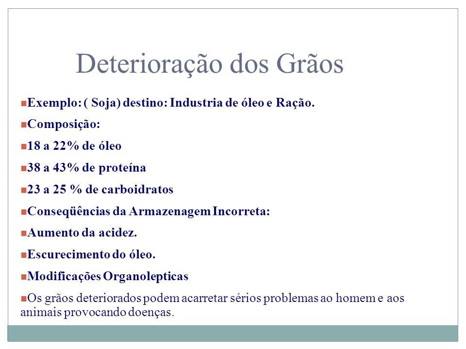 Deterioração dos Grãos n Exemplo: ( Soja) destino: Industria de óleo e Ração. n Composição: n 18 a 22% de óleo n 38 a 43% de proteína n 23 a 25 % de c