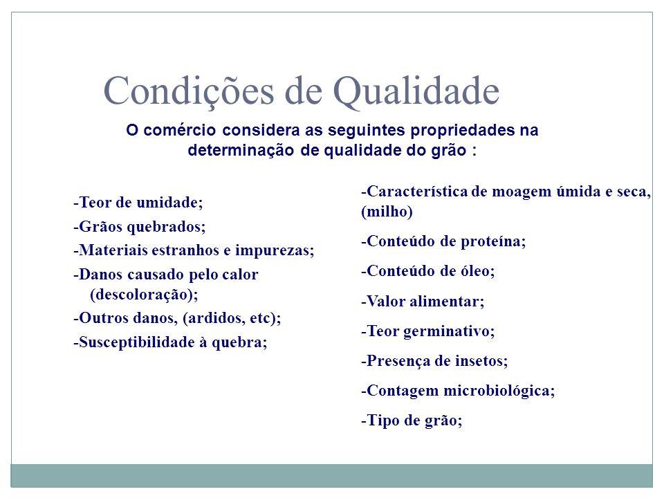 Condições de Qualidade O comércio considera as seguintes propriedades na determinação de qualidade do grão : -Teor de umidade; -Grãos quebrados; -Mate