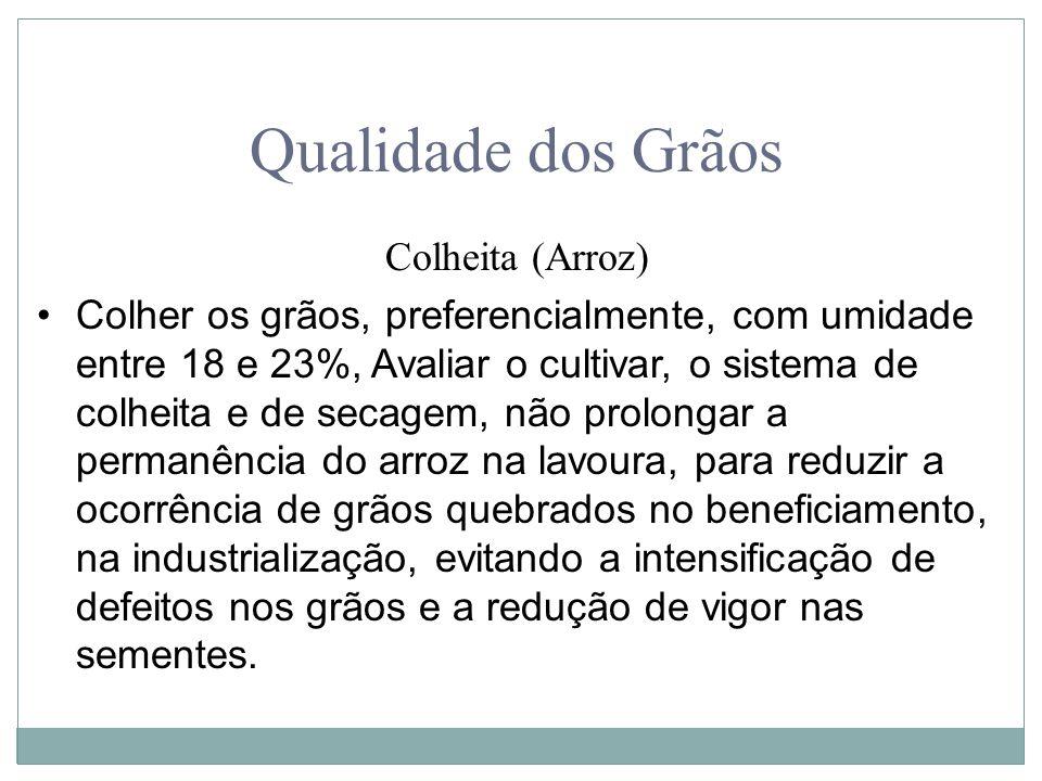 Qualidade dos Grãos Colheita (Arroz) Colher os grãos, preferencialmente, com umidade entre 18 e 23%, Avaliar o cultivar, o sistema de colheita e de se