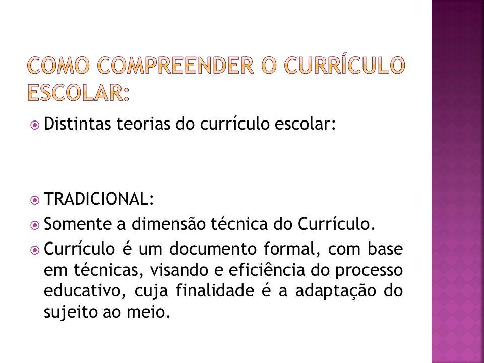  Distintas teorias do currículo escolar:  TRADICIONAL:  Somente a dimensão técnica do Currículo.  Currículo é um documento formal, com base em téc