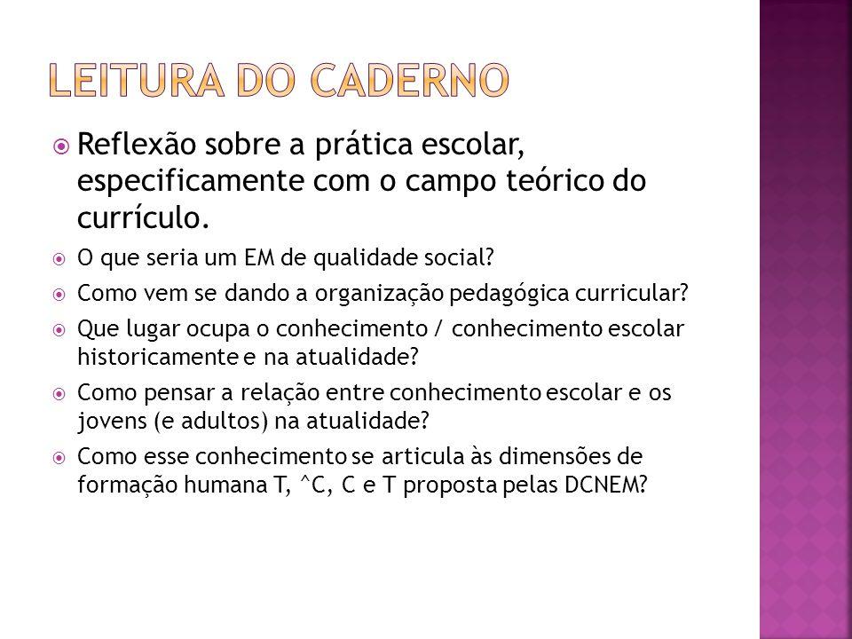  Reflexão sobre a prática escolar, especificamente com o campo teórico do currículo.  O que seria um EM de qualidade social?  Como vem se dando a o