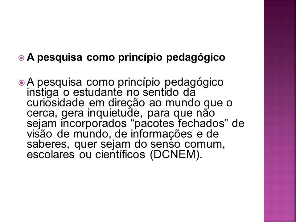  A pesquisa como princípio pedagógico  A pesquisa como princípio pedagógico instiga o estudante no sentido da curiosidade em direção ao mundo que o
