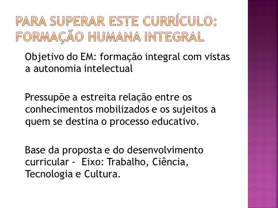 Objetivo do EM: formação integral com vistas a autonomia intelectual Pressupõe a estreita relação entre os conhecimentos mobilizados e os sujeitos a q