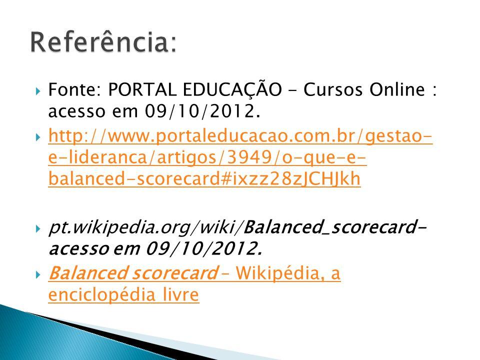  Fonte: PORTAL EDUCAÇÃO - Cursos Online : acesso em 09/10/2012.  http://www.portaleducacao.com.br/gestao- e-lideranca/artigos/3949/o-que-e- balanced