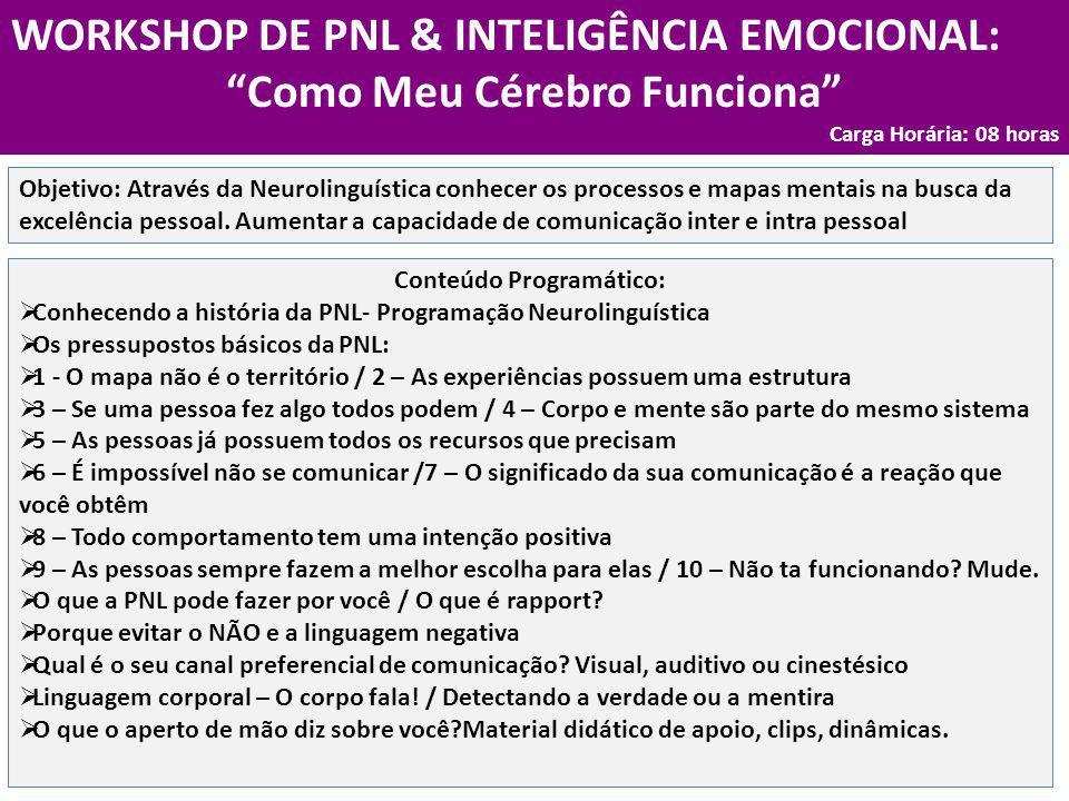 """WORKSHOP DE PNL & INTELIGÊNCIA EMOCIONAL: """"Como Meu Cérebro Funciona"""" Carga Horária: 08 horas Conteúdo Programático:  Conhecendo a história da PNL- P"""