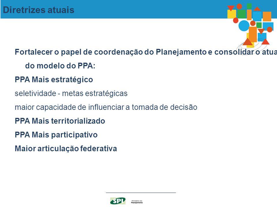 Fortalecer o papel de coordenação do Planejamento e consolidar o atual do modelo do PPA: PPA Mais estratégico seletividade - metas estratégicas maior