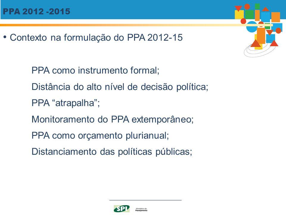 """PPA 2012 -2015 Contexto na formulação do PPA 2012-15 PPA como instrumento formal; Distância do alto nível de decisão política; PPA """"atrapalha""""; Monito"""