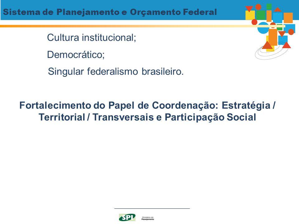 Sistema de Planejamento e Orçamento Federal Cultura institucional; Democrático; Singular federalismo brasileiro. Fortalecimento do Papel de Coordenaçã