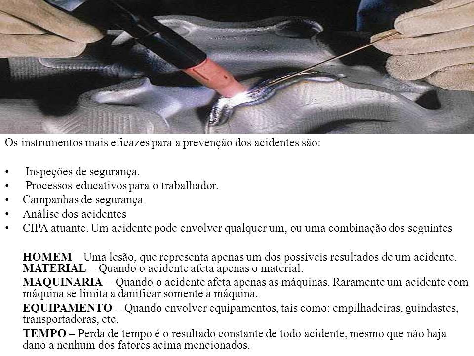 Os instrumentos mais eficazes para a prevenção dos acidentes são: Inspeções de segurança. Processos educativos para o trabalhador. Campanhas de segura