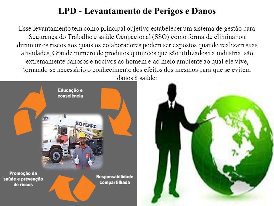 LPD - Levantamento de Perigos e Danos Esse levantamento tem como principal objetivo estabelecer um sistema de gestão para Segurança do Trabalho e saúd