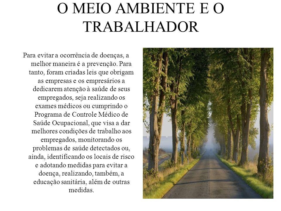 O MEIO AMBIENTE E O TRABALHADOR Para evitar a ocorrência de doenças, a melhor maneira é a prevenção. Para tanto, foram criadas leis que obrigam as emp