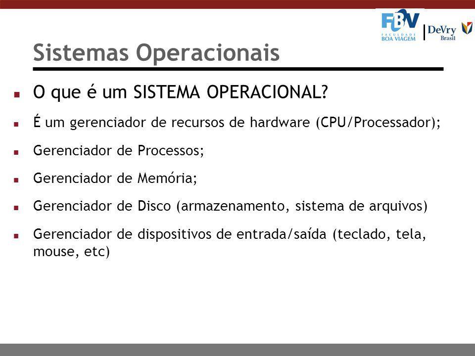 Sistemas Operacionais n O que é um SISTEMA OPERACIONAL? n É um gerenciador de recursos de hardware (CPU/Processador); n Gerenciador de Processos; n Ge