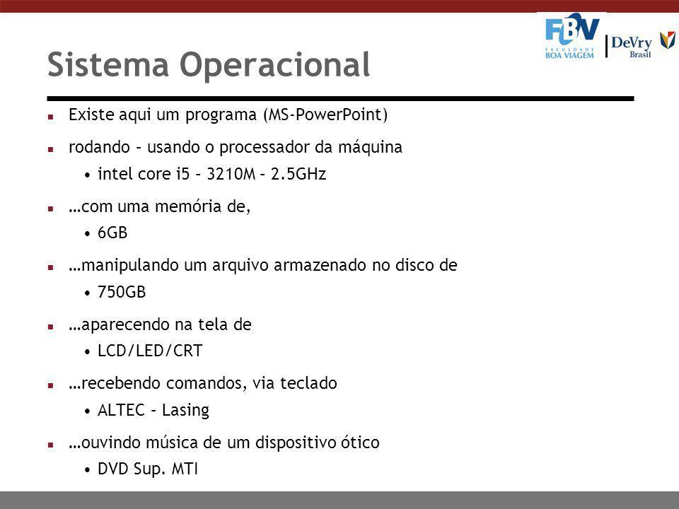 n Existe aqui um programa (MS-PowerPoint) n rodando – usando o processador da máquina intel core i5 – 3210M – 2.5GHz n …com uma memória de, 6GB n …man