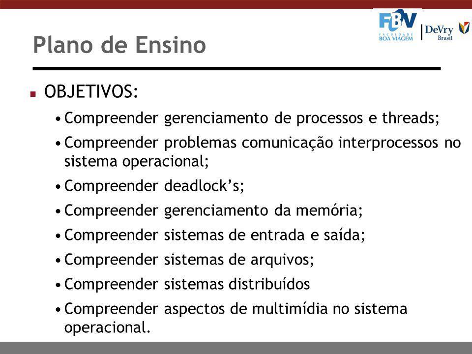Plano de Ensino n OBJETIVOS: Compreender gerenciamento de processos e threads; Compreender problemas comunicação interprocessos no sistema operacional