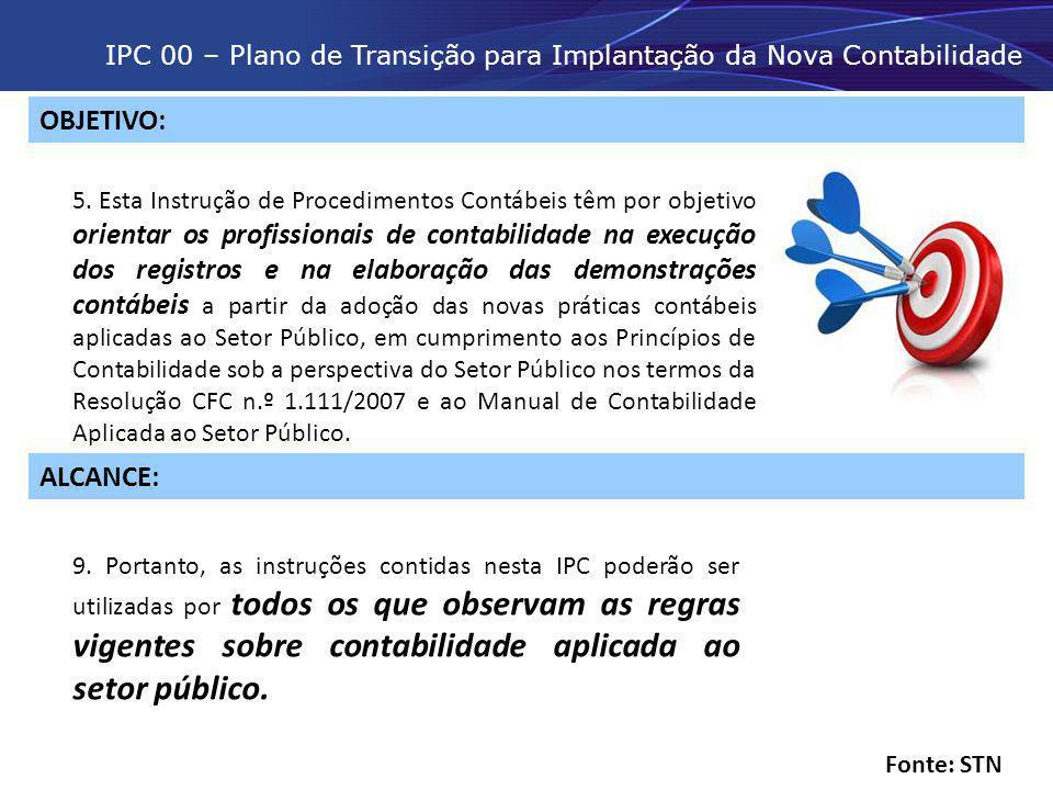 IPC 00 – Plano de Transição para Implantação da Nova Contabilidade OBJETIVO: 5. Esta Instrução de Procedimentos Contábeis têm por objetivo orientar os