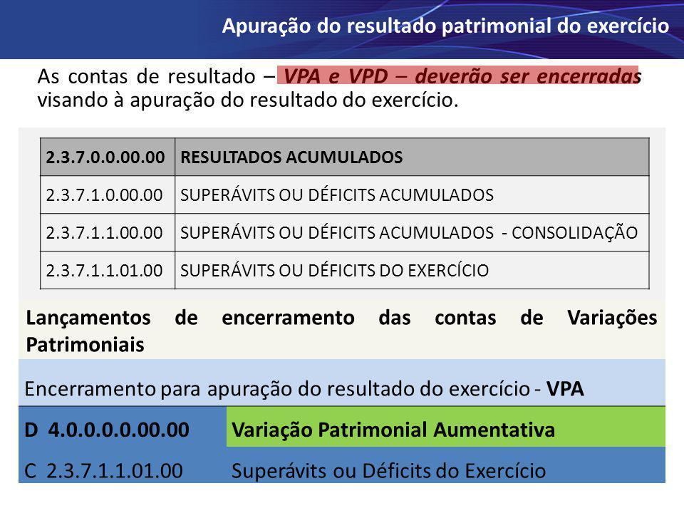 As contas de resultado – VPA e VPD – deverão ser encerradas visando à apuração do resultado do exercício. Apuração do resultado patrimonial do exercíc