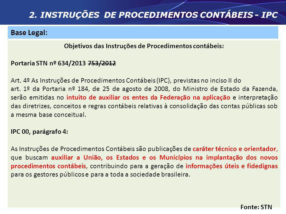 2. INSTRUÇÕES DE PROCEDIMENTOS CONTÁBEIS - IPC Base Legal: LC 101/00 (LRF) Art. 64. A União prestará assistência técnica e cooperação financeira aos M