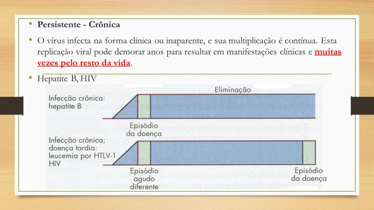 Persistente - Crônica O vírus infecta na forma clínica ou inaparente, e sua multiplicação é contínua. Esta replicação viral pode demorar anos para res