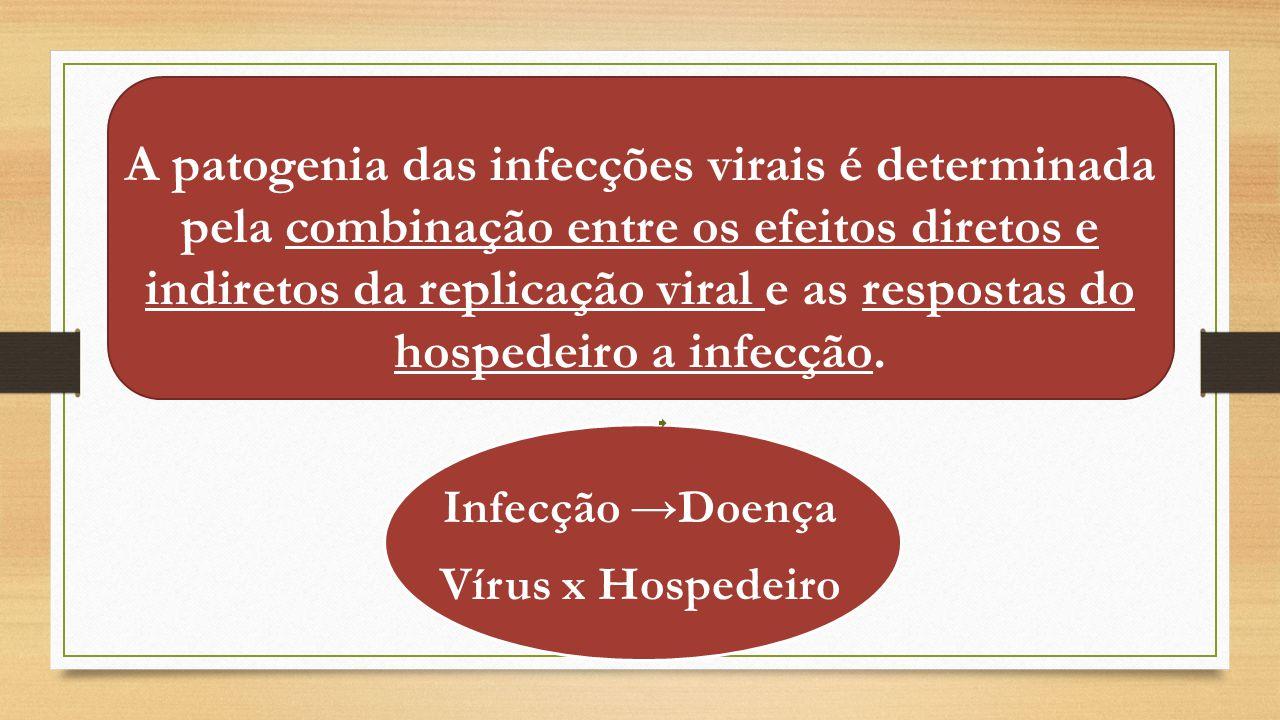 Conceitos básicos: Patogenicidade – capacidade de produzir doença Fatores de Virulência - Capacidade de produzir estado patológico no hospedeiro e depende: Tipo de vírus Quantidade de inóculo viral Via de inoculação Hospedeiro