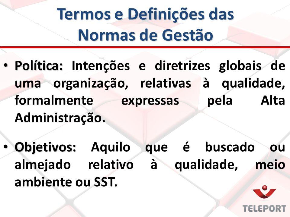 Termos e Definições das Normas de Gestão Política: Política: Intenções e diretrizes globais de uma organização, relativas à qualidade, formalmente exp