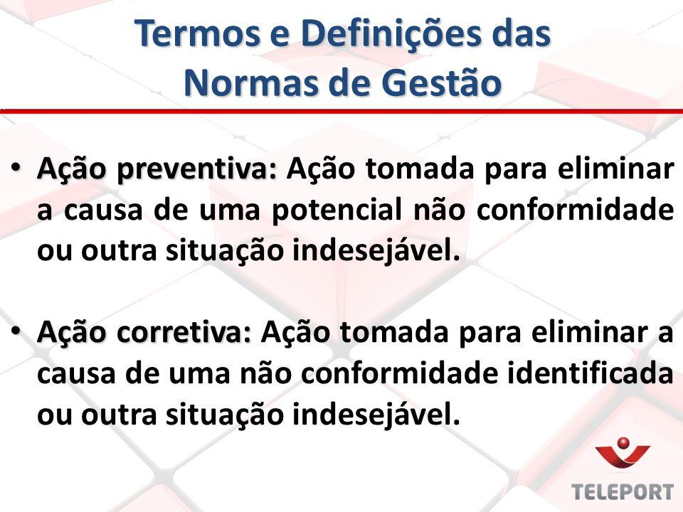 Termos e Definições das Normas de Gestão Ação preventiva: Ação preventiva: Ação tomada para eliminar a causa de uma potencial não conformidade ou outr