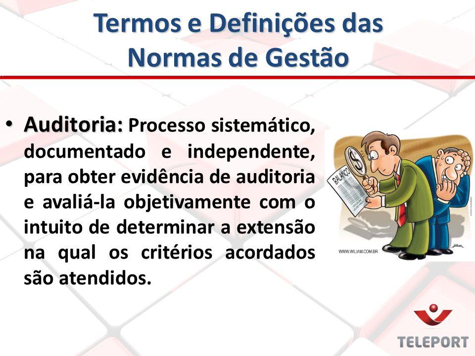 Termos e Definições das Normas de Gestão Auditoria: Auditoria: Processo sistemático, documentado e independente, para obter evidência de auditoria e a