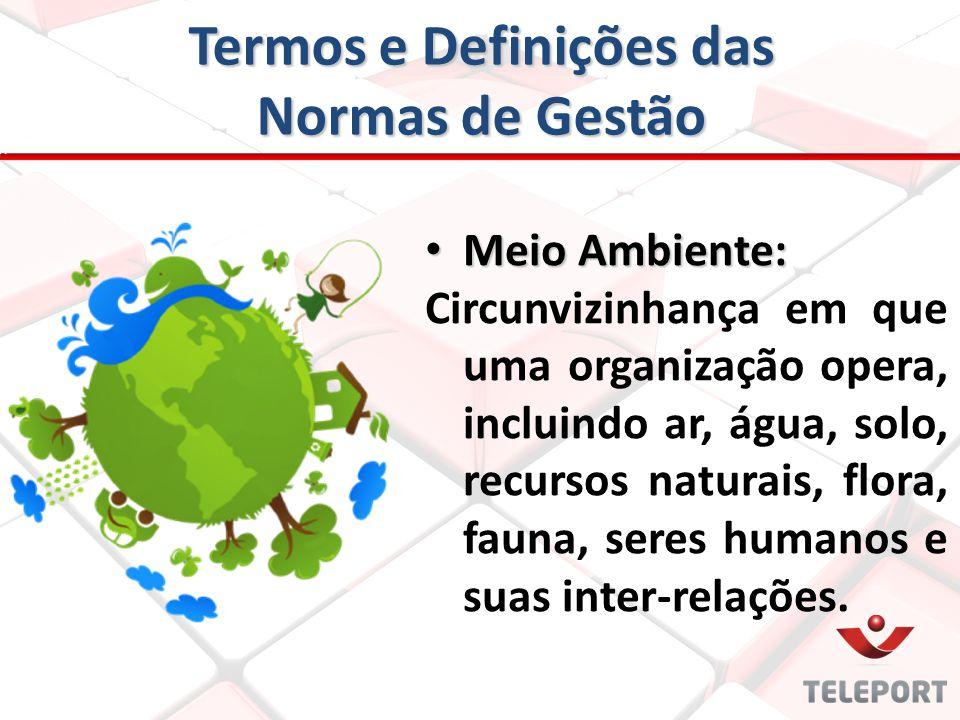 Termos e Definições das Normas de Gestão Meio Ambiente: Meio Ambiente: Circunvizinhança em que uma organização opera, incluindo ar, água, solo, recurs