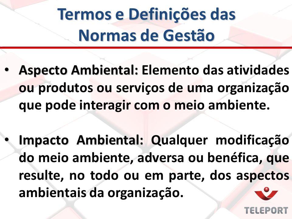 Termos e Definições das Normas de Gestão Aspecto Ambiental: Aspecto Ambiental: Elemento das atividades ou produtos ou serviços de uma organização que