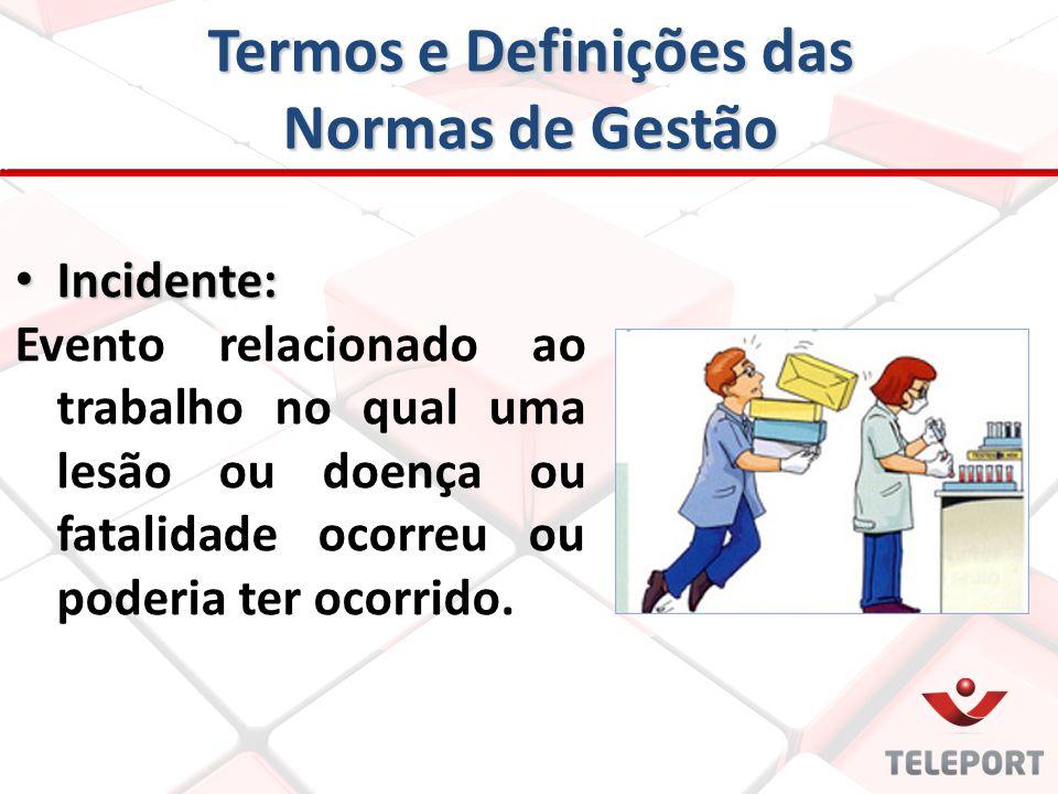 Termos e Definições das Normas de Gestão Incidente: Incidente: Evento relacionado ao trabalho no qual uma lesão ou doença ou fatalidade ocorreu ou pod