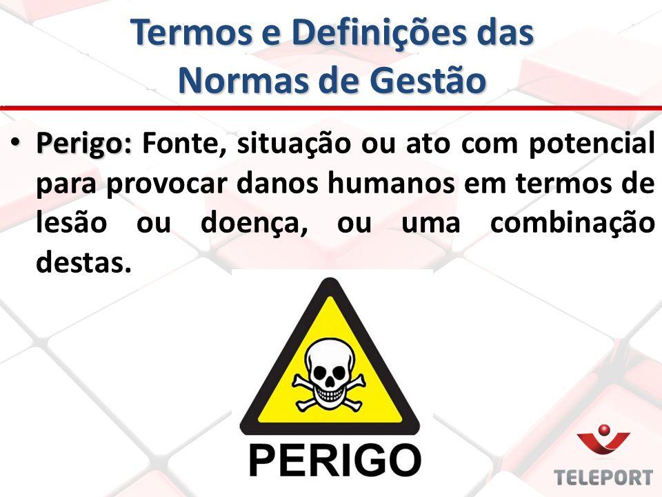 Termos e Definições das Normas de Gestão Perigo: Perigo: Fonte, situação ou ato com potencial para provocar danos humanos em termos de lesão ou doença
