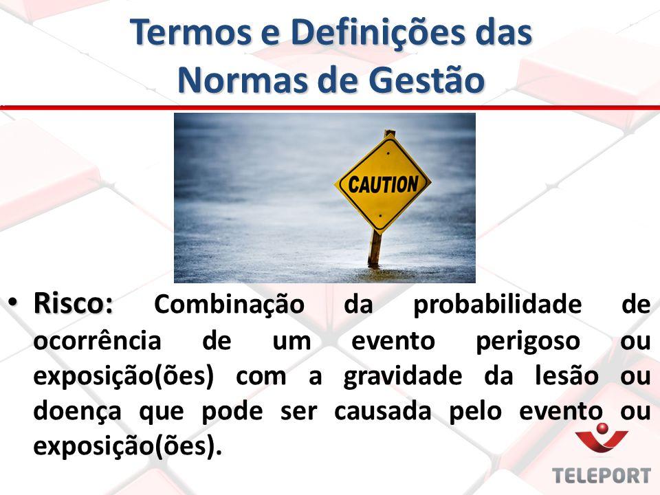 Termos e Definições das Normas de Gestão Risco: Risco: Combinação da probabilidade de ocorrência de um evento perigoso ou exposição(ões) com a gravida