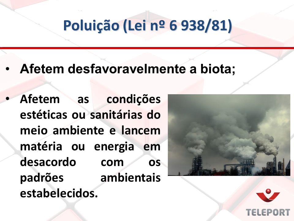 Poluição (Lei nº 6 938/81) Afetem desfavoravelmente a biota; Afetem as condições estéticas ou sanitárias do meio ambiente e lancem matéria ou energia