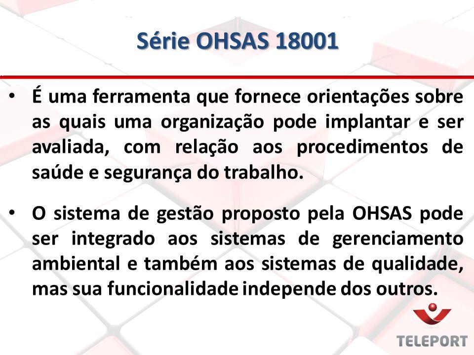 Série OHSAS 18001 É uma ferramenta que fornece orientações sobre as quais uma organização pode implantar e ser avaliada, com relação aos procedimentos