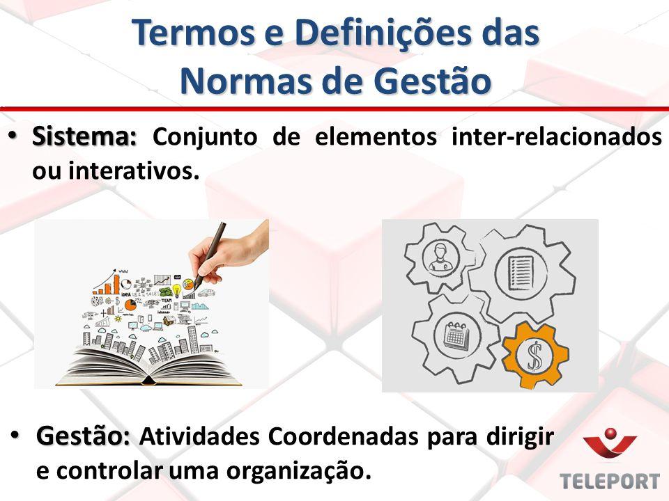 Termos e Definições das Normas de Gestão Sistema: Sistema: Conjunto de elementos inter-relacionados ou interativos. Gestão: Gestão: Atividades Coorden